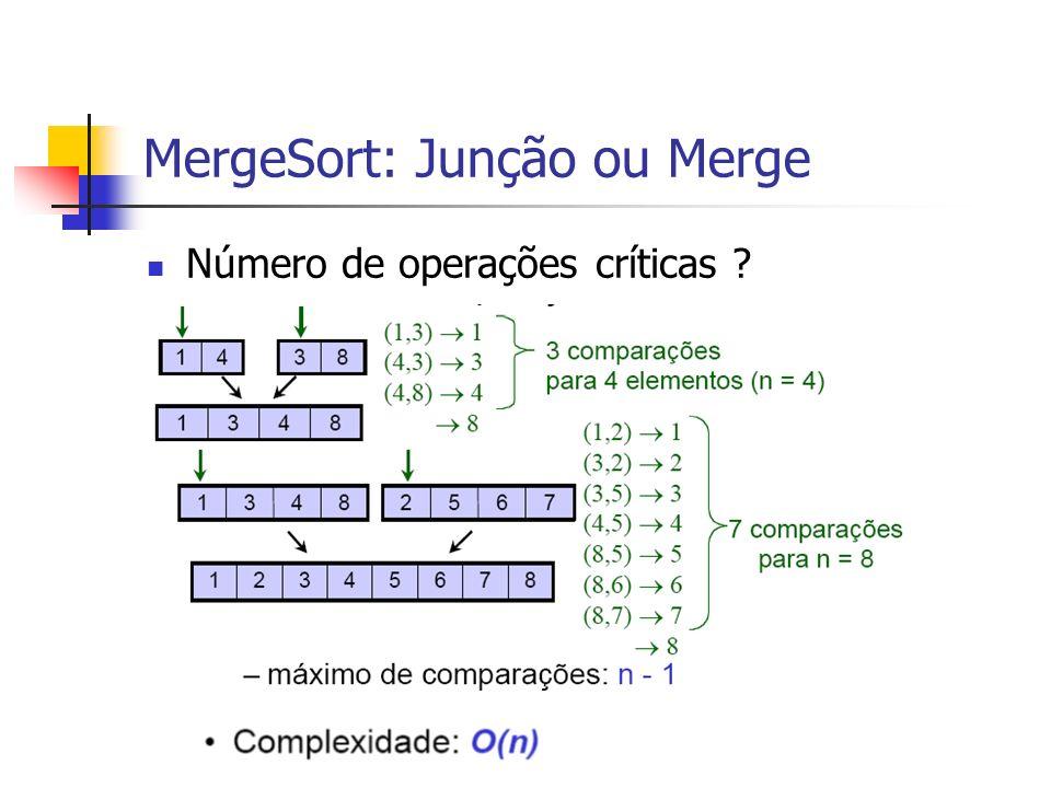 MergeSort: Junção ou Merge Número de operações críticas ?