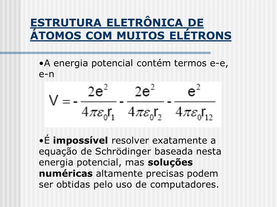 ESTRUTURA ELETRÔNICA DE ÁTOMOS COM MUITOS ELÉTRONS A energia potencial contém termos e-e, e-n É impossível resolver exatamente a equação de Schrödinge