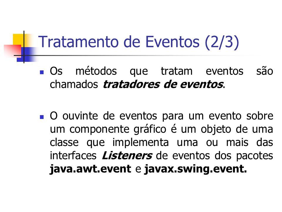 Tratamento de Eventos (2/3) Os métodos que tratam eventos são chamados tratadores de eventos.