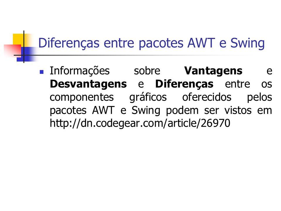 Diferenças entre pacotes AWT e Swing Informações sobre Vantagens e Desvantagens e Diferenças entre os componentes gráficos oferecidos pelos pacotes AWT e Swing podem ser vistos em http://dn.codegear.com/article/26970
