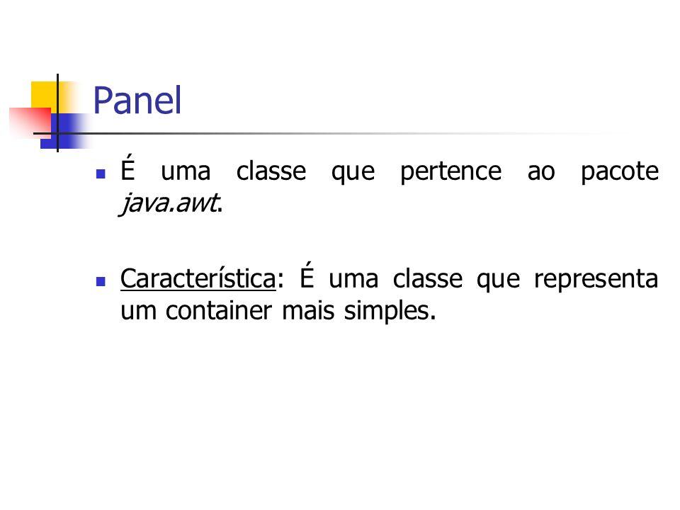 Panel É uma classe que pertence ao pacote java.awt.
