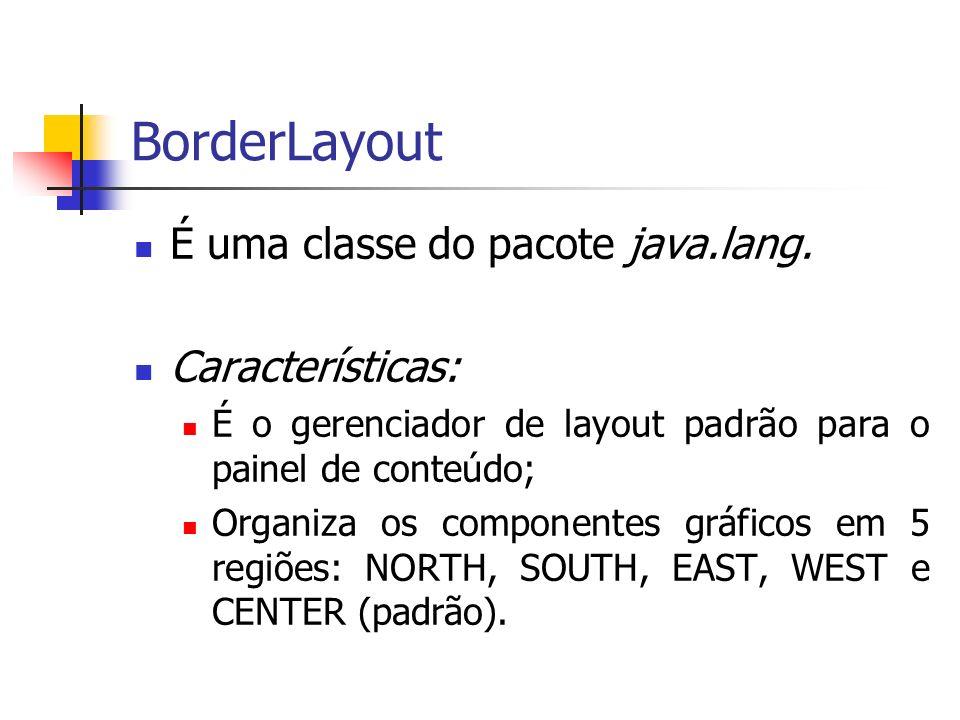 BorderLayout É uma classe do pacote java.lang. Características: É o gerenciador de layout padrão para o painel de conteúdo; Organiza os componentes gr