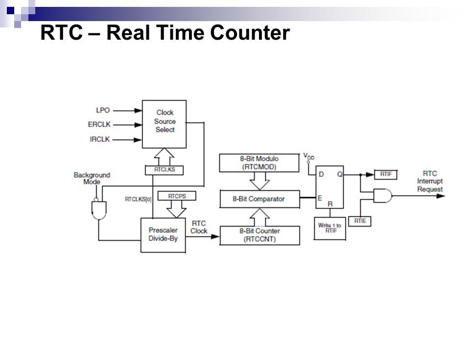 O RTC consiste em: Um contador de 8-bit (RTCCNT); Um módulo de 8-bit (RTCMOD); Um comparador 8-bit; Divisor de prescaler; Três fontes de clocks: 1) 1 kHz internal low-power oscillator (LPO) 2) External clock (ERCLK) 3) 32 kHz internal clock (IRCLK); Período de Interrupção programável.