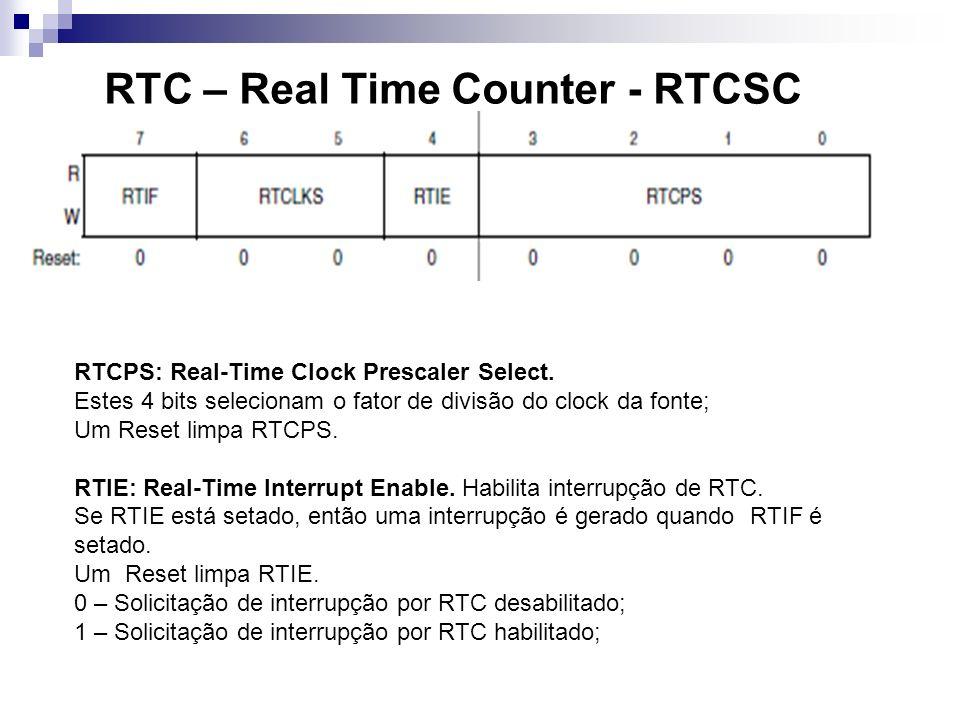 RTC – Real Time Counter - RTCSC RTCPS: Real-Time Clock Prescaler Select. Estes 4 bits selecionam o fator de divisão do clock da fonte; Um Reset limpa