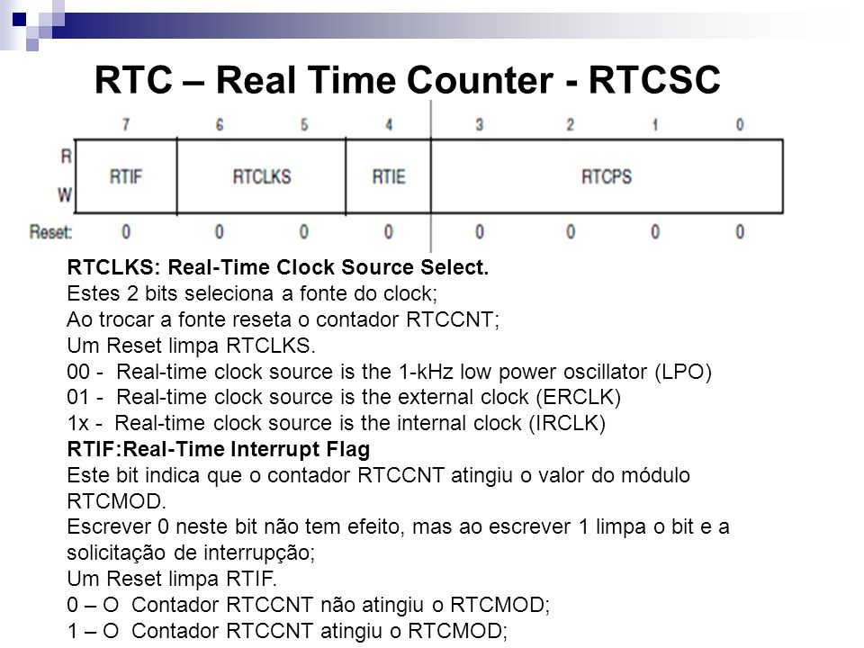 RTC – Real Time Counter - RTCSC RTCLKS: Real-Time Clock Source Select. Estes 2 bits seleciona a fonte do clock; Ao trocar a fonte reseta o contador RT