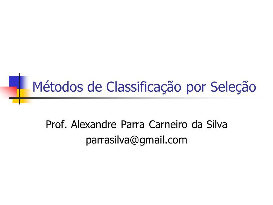Métodos de Classificação por Seleção Prof. Alexandre Parra Carneiro da Silva parrasilva@gmail.com