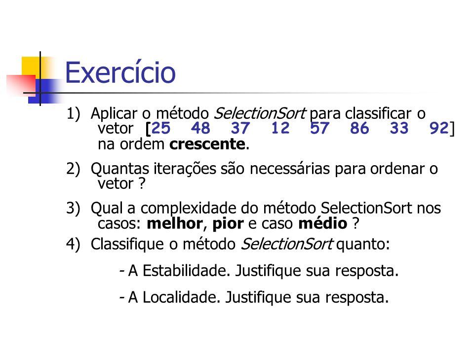 Exercício 1) Aplicar o método SelectionSort para classificar o vetor [25 48 37 12 57 86 33 92 ] na ordem crescente. 2) Quantas iterações são necessári
