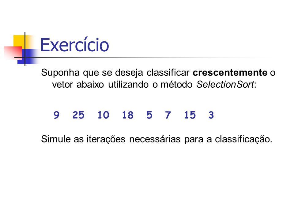 Exercício Suponha que se deseja classificar crescentemente o vetor abaixo utilizando o método SelectionSort: 9 25 10 18 5 7 15 3 Simule as iterações n