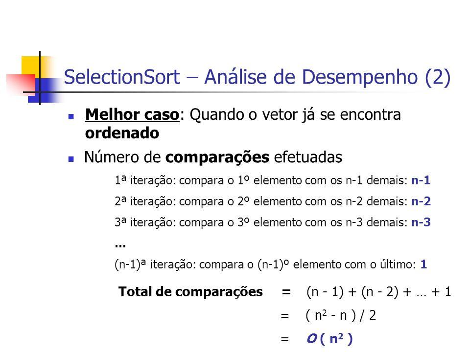 SelectionSort – Análise de Desempenho (2) Melhor caso: Quando o vetor já se encontra ordenado Total de comparações =(n - 1) + (n - 2) + … + 1 = ( n 2