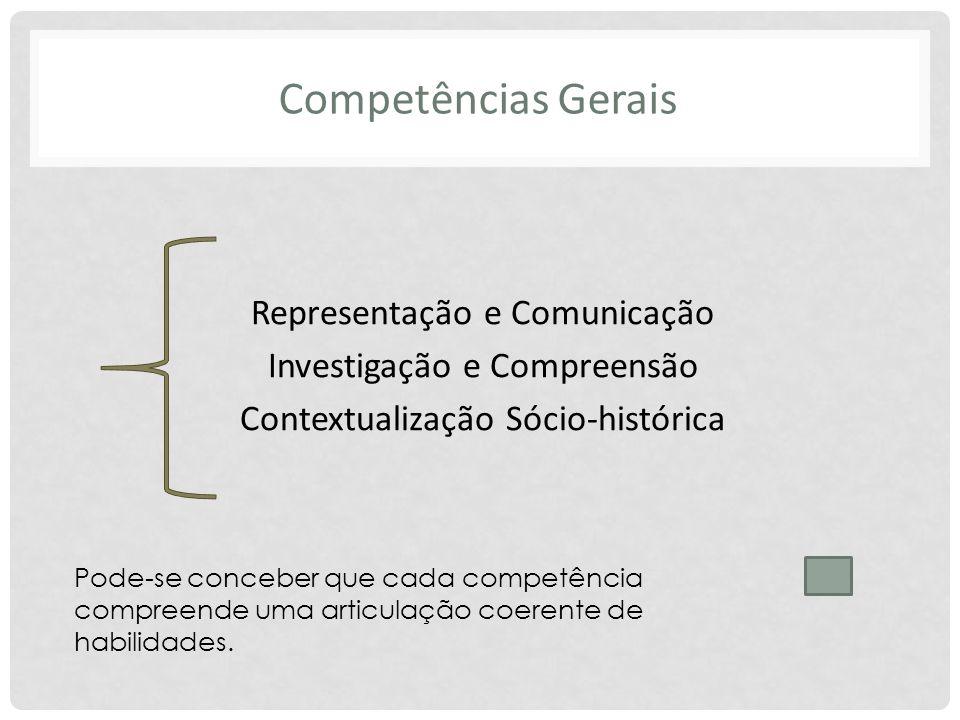 Competências Gerais Representação e Comunicação Investigação e Compreensão Contextualização Sócio-histórica Pode-se conceber que cada competência comp