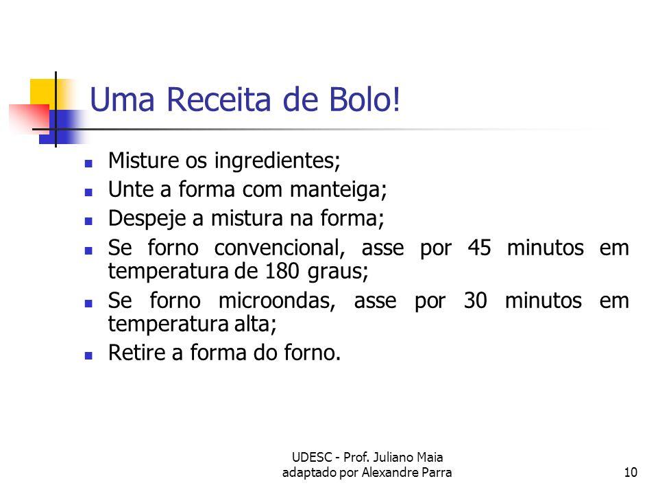 UDESC - Prof. Juliano Maia adaptado por Alexandre Parra10 Uma Receita de Bolo! Misture os ingredientes; Unte a forma com manteiga; Despeje a mistura n