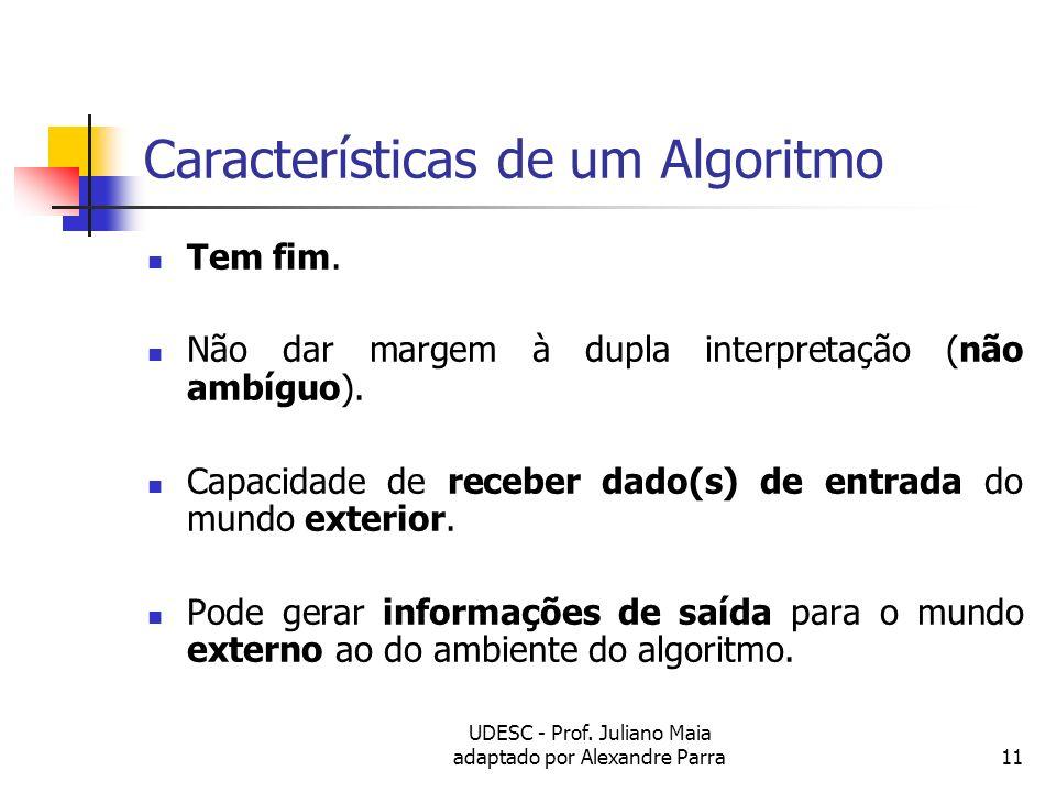 UDESC - Prof. Juliano Maia adaptado por Alexandre Parra11 Características de um Algoritmo Tem fim. Não dar margem à dupla interpretação (não ambíguo).