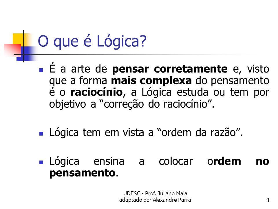 UDESC - Prof. Juliano Maia adaptado por Alexandre Parra4 O que é Lógica? É a arte de pensar corretamente e, visto que a forma mais complexa do pensame