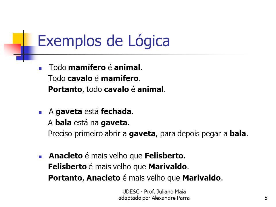 UDESC - Prof. Juliano Maia adaptado por Alexandre Parra5 Exemplos de Lógica Todo mamífero é animal. Todo cavalo é mamífero. Portanto, todo cavalo é an