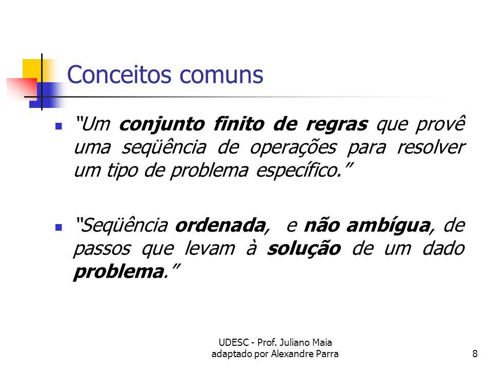 UDESC - Prof. Juliano Maia adaptado por Alexandre Parra8 Conceitos comuns Um conjunto finito de regras que provê uma seqüência de operações para resol