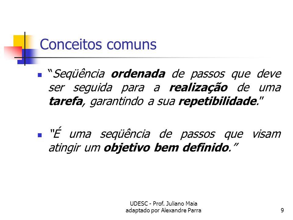 UDESC - Prof. Juliano Maia adaptado por Alexandre Parra9 Conceitos comuns Seqüência ordenada de passos que deve ser seguida para a realização de uma t