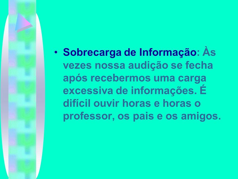 Sobrecarga de Informação: Às vezes nossa audição se fecha após recebermos uma carga excessiva de informações. É difícil ouvir horas e horas o professo