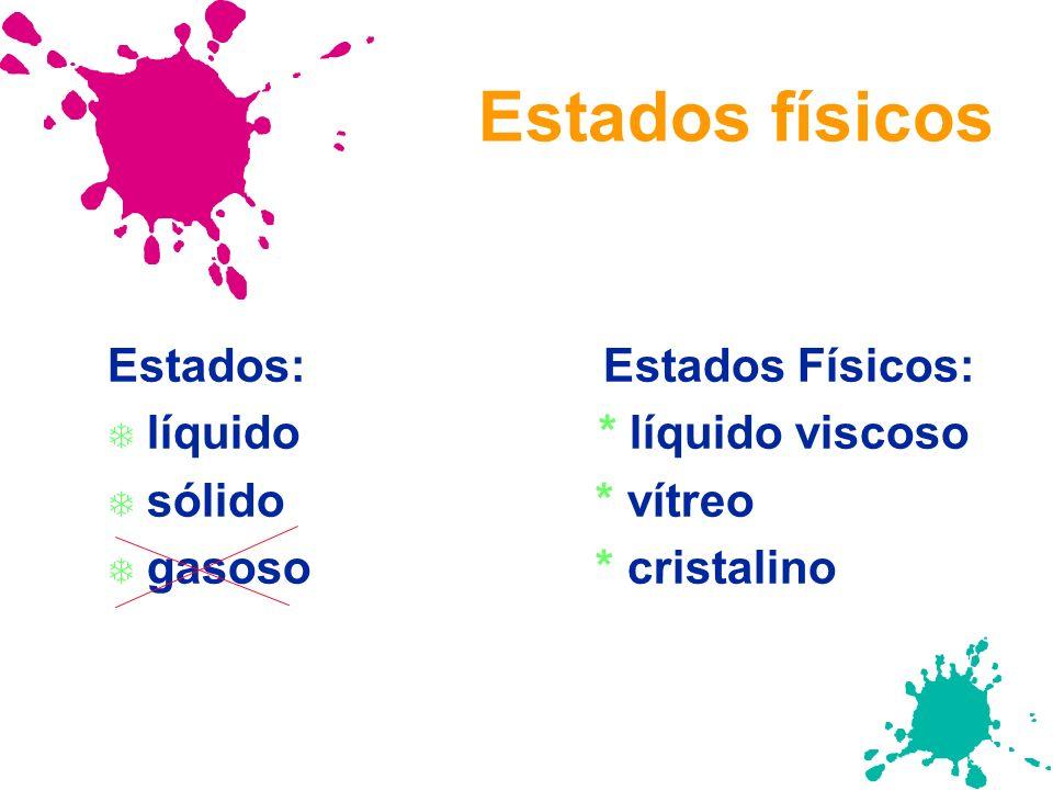 Estados físicos Estados: Estados Físicos: T líquido * líquido viscoso T sólido * vítreo T gasoso * cristalino