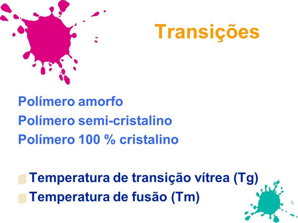 Transições Polímero amorfo Polímero semi-cristalino Polímero 100 % cristalino 4 Temperatura de transição vítrea (Tg) 4 Temperatura de fusão (Tm)