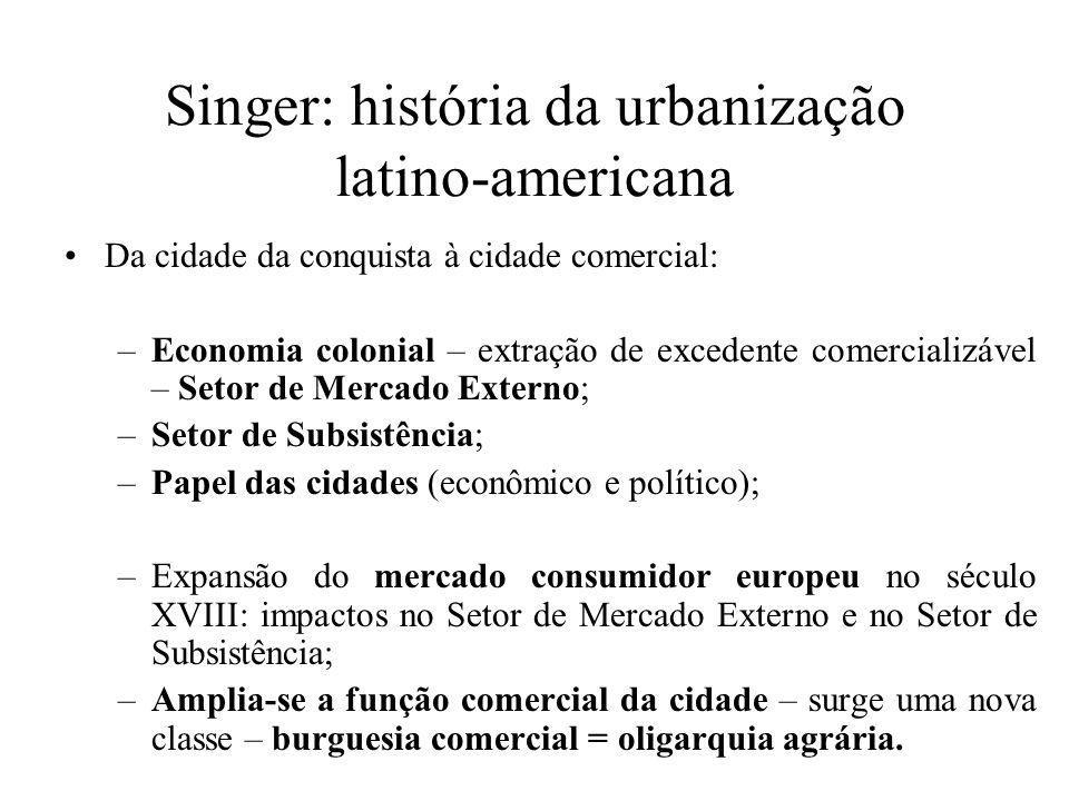 Singer: história da urbanização latino-americana Da cidade da conquista à cidade comercial: –Economia colonial – extração de excedente comercializável