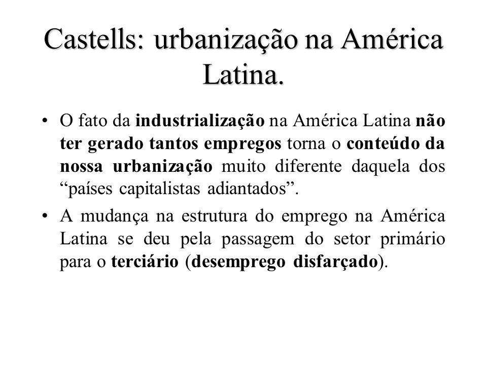 Castells: urbanização na América Latina. O fato da industrialização na América Latina não ter gerado tantos empregos torna o conteúdo da nossa urbaniz