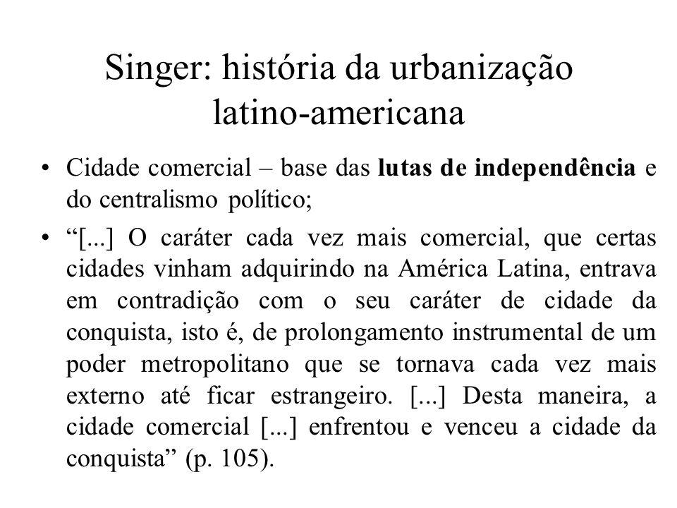 Singer: história da urbanização latino-americana Cidade comercial – base das lutas de independência e do centralismo político; [...] O caráter cada ve