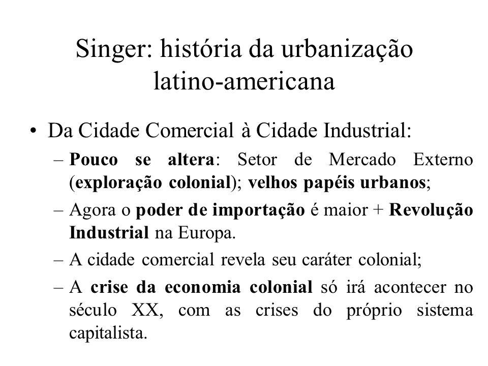 Singer: história da urbanização latino-americana Da Cidade Comercial à Cidade Industrial: –Pouco se altera: Setor de Mercado Externo (exploração colon
