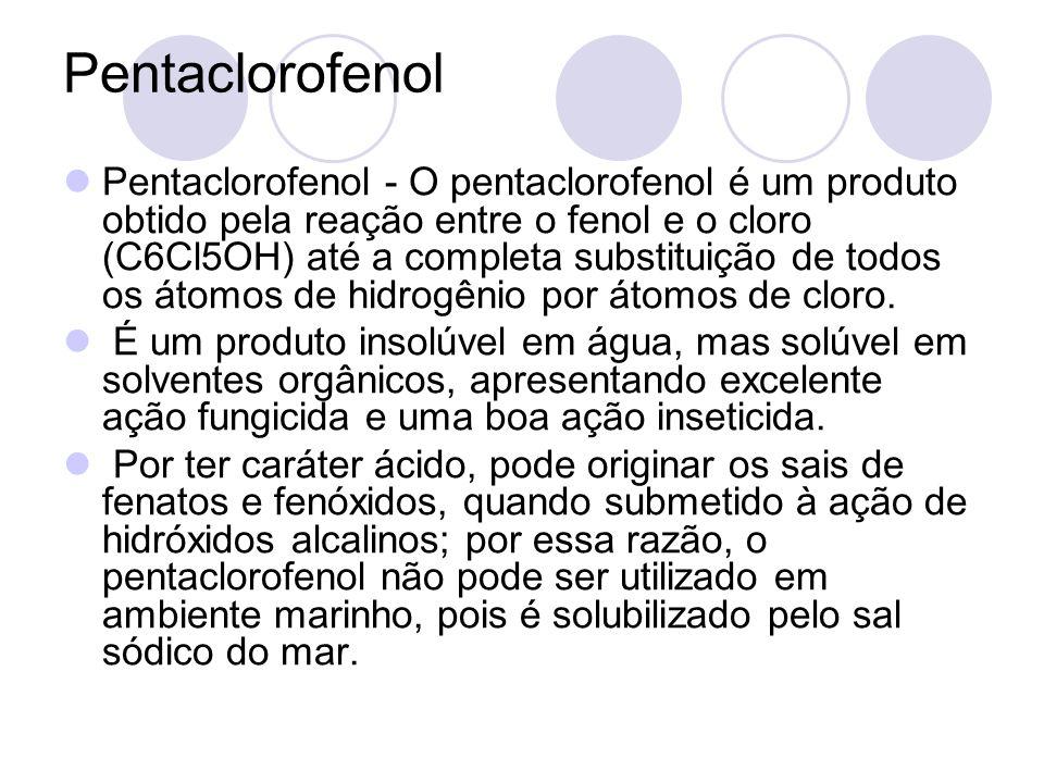 Pentaclorofenol Pentaclorofenol - O pentaclorofenol é um produto obtido pela reação entre o fenol e o cloro (C6Cl5OH) até a completa substituição de t