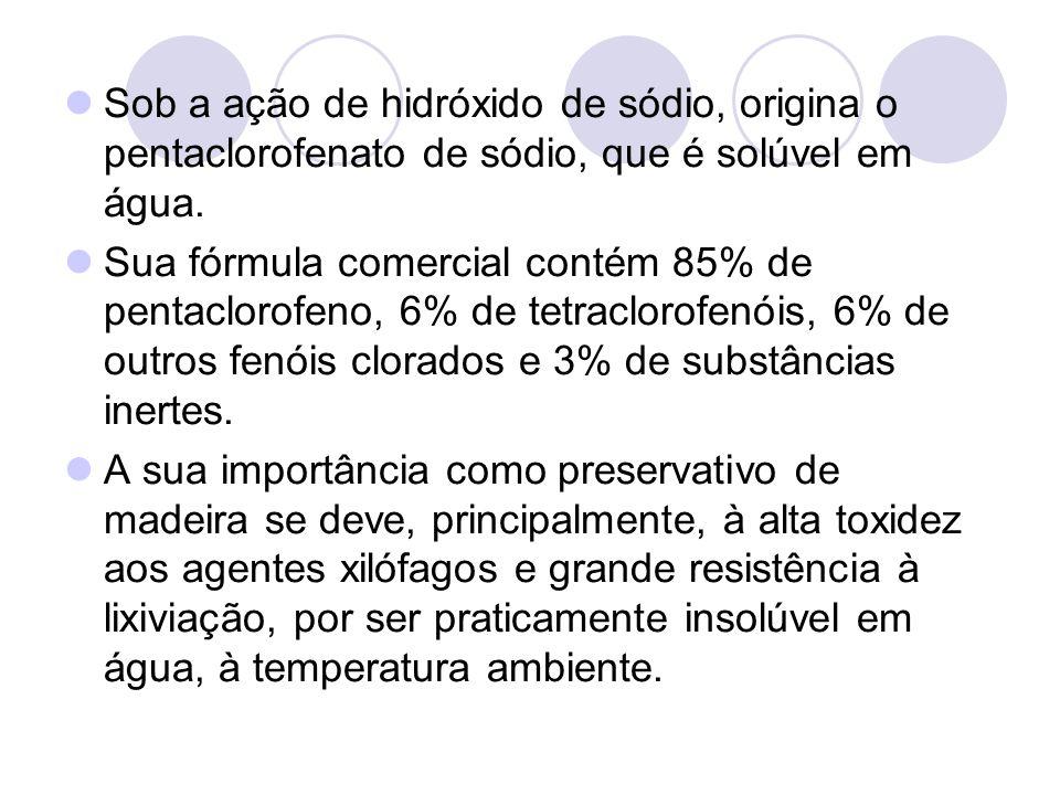 Sob a ação de hidróxido de sódio, origina o pentaclorofenato de sódio, que é solúvel em água. Sua fórmula comercial contém 85% de pentaclorofeno, 6% d
