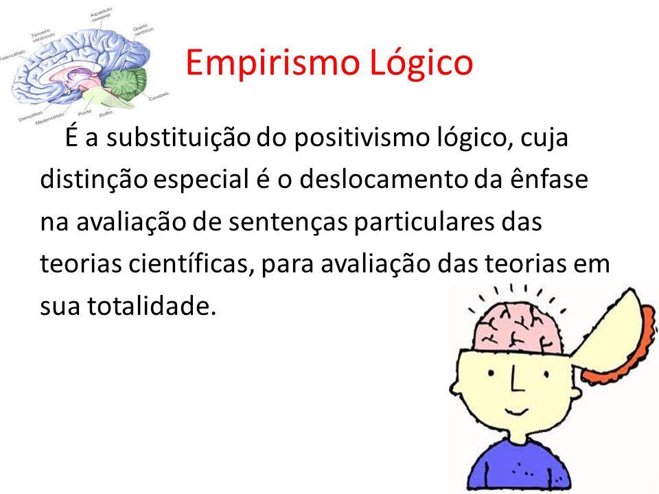 Empirismo Lógico É a substituição do positivismo lógico, cuja distinção especial é o deslocamento da ênfase na avaliação de sentenças particulares das