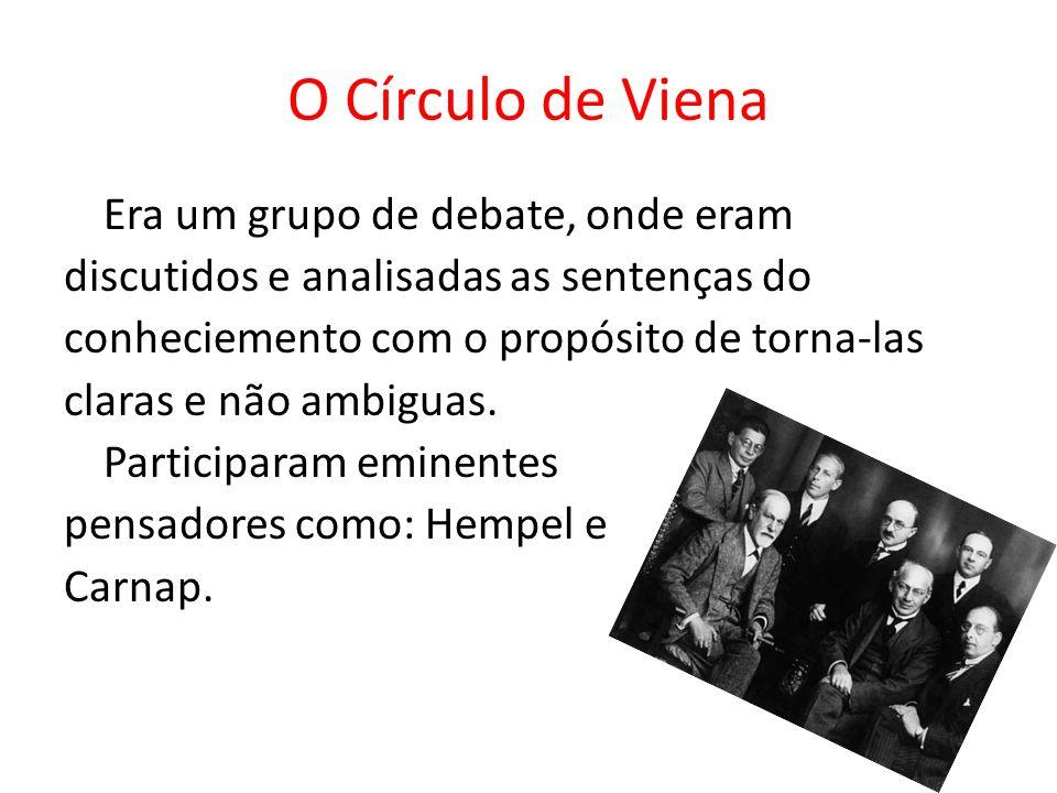 O Círculo de Viena Era um grupo de debate, onde eram discutidos e analisadas as sentenças do conheciemento com o propósito de torna-las claras e não a