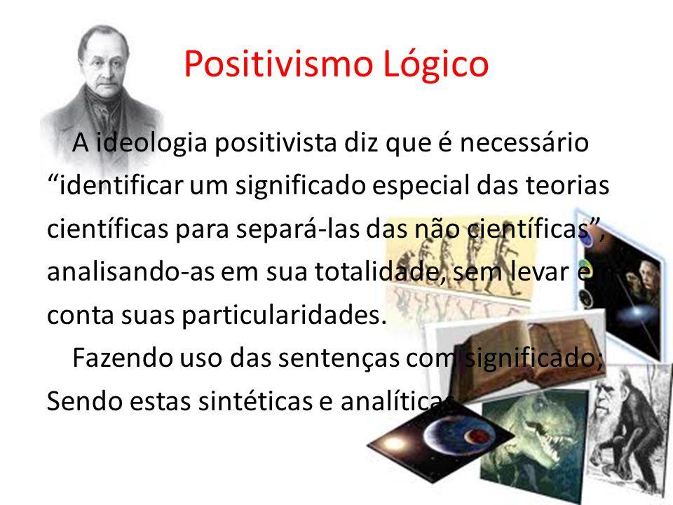 Positivismo Lógico A ideologia positivista diz que é necessário identificar um significado especial das teorias científicas para separá-las das não ci