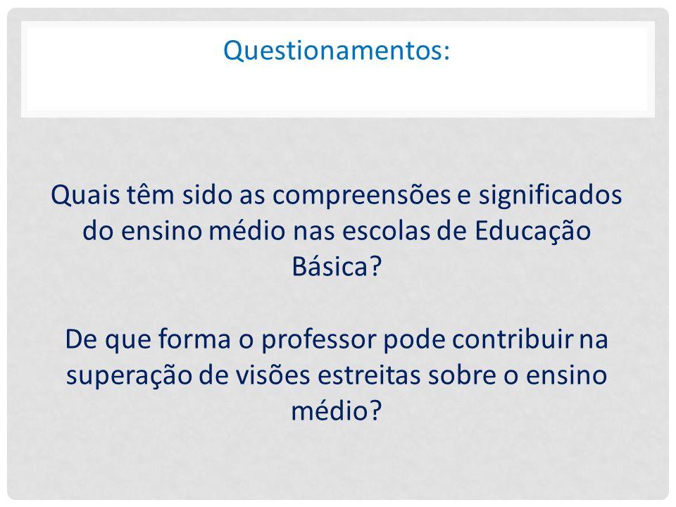 Questionamentos: Quais têm sido as compreensões e significados do ensino médio nas escolas de Educação Básica? De que forma o professor pode contribui