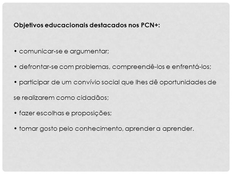 Objetivos educacionais destacados nos PCN+: comunicar-se e argumentar; defrontar-se com problemas, compreendê-los e enfrentá-los; participar de um con