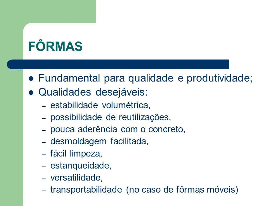 FÔRMAS Fundamental para qualidade e produtividade; Qualidades desejáveis: – estabilidade volumétrica, – possibilidade de reutilizações, – pouca aderên