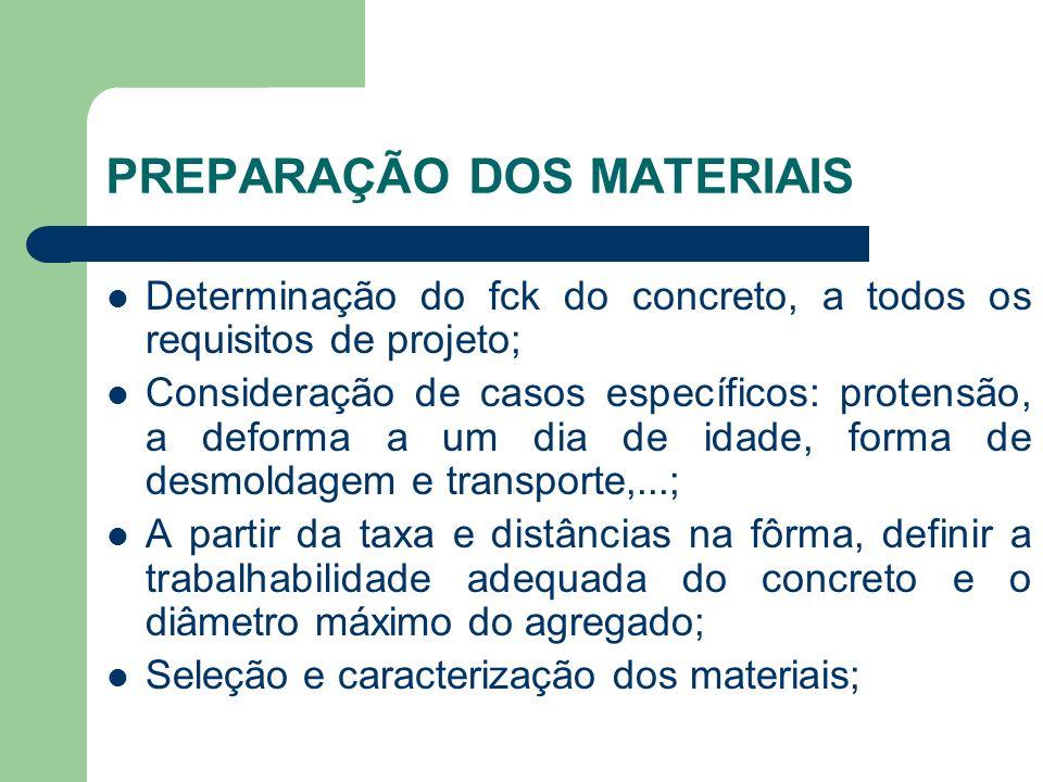 PREPARAÇÃO DOS MATERIAIS Determinação do fck do concreto, a todos os requisitos de projeto; Consideração de casos específicos: protensão, a deforma a