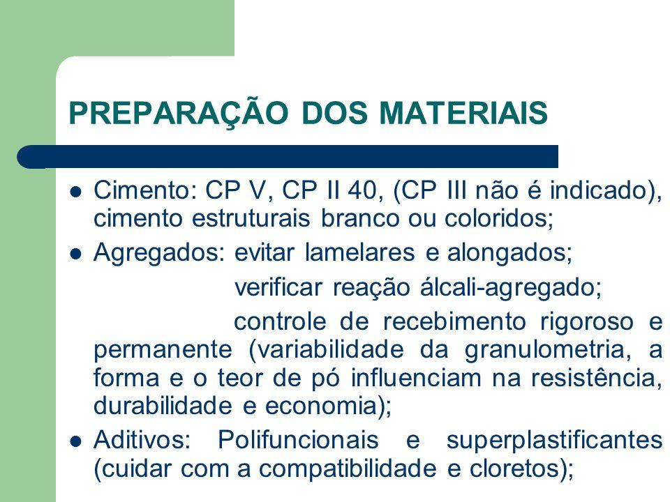 PREPARAÇÃO DOS MATERIAIS Cimento: CP V, CP II 40, (CP III não é indicado), cimento estruturais branco ou coloridos; Agregados: evitar lamelares e alon