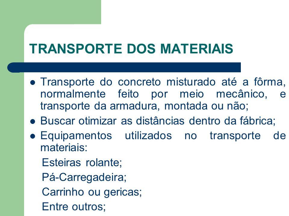 TRANSPORTE DOS MATERIAIS Transporte do concreto misturado até a fôrma, normalmente feito por meio mecânico, e transporte da armadura, montada ou não;