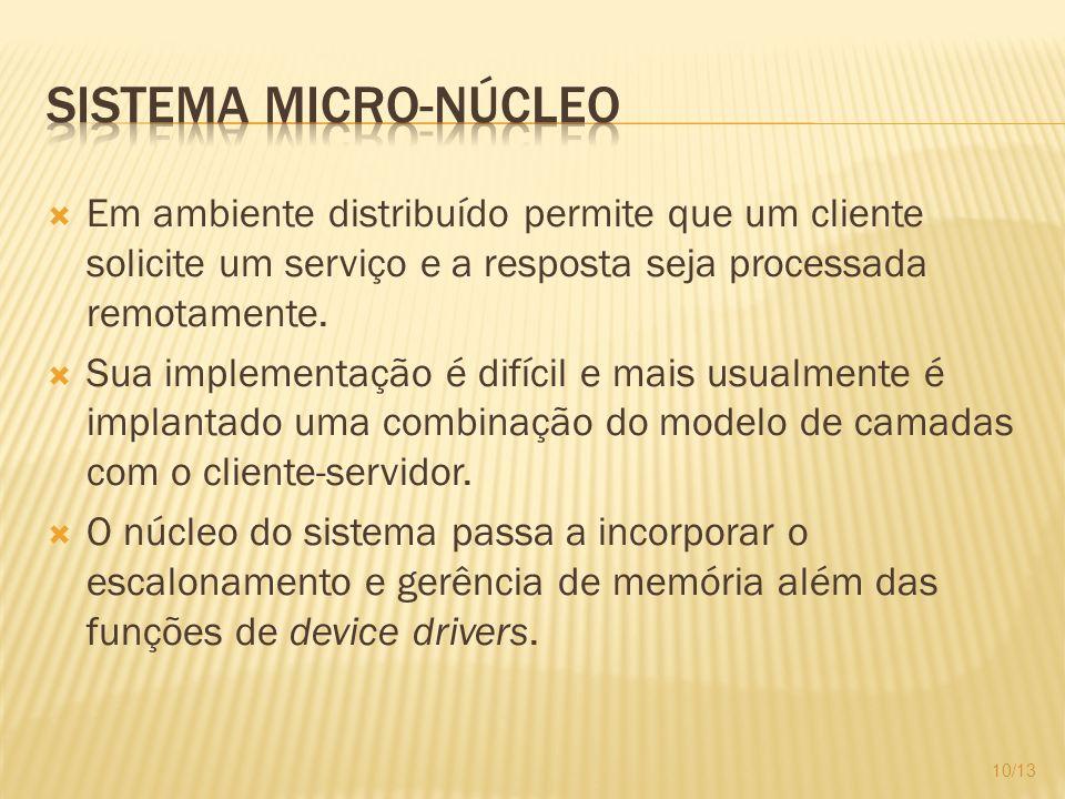 Em ambiente distribuído permite que um cliente solicite um serviço e a resposta seja processada remotamente. Sua implementação é difícil e mais usualm
