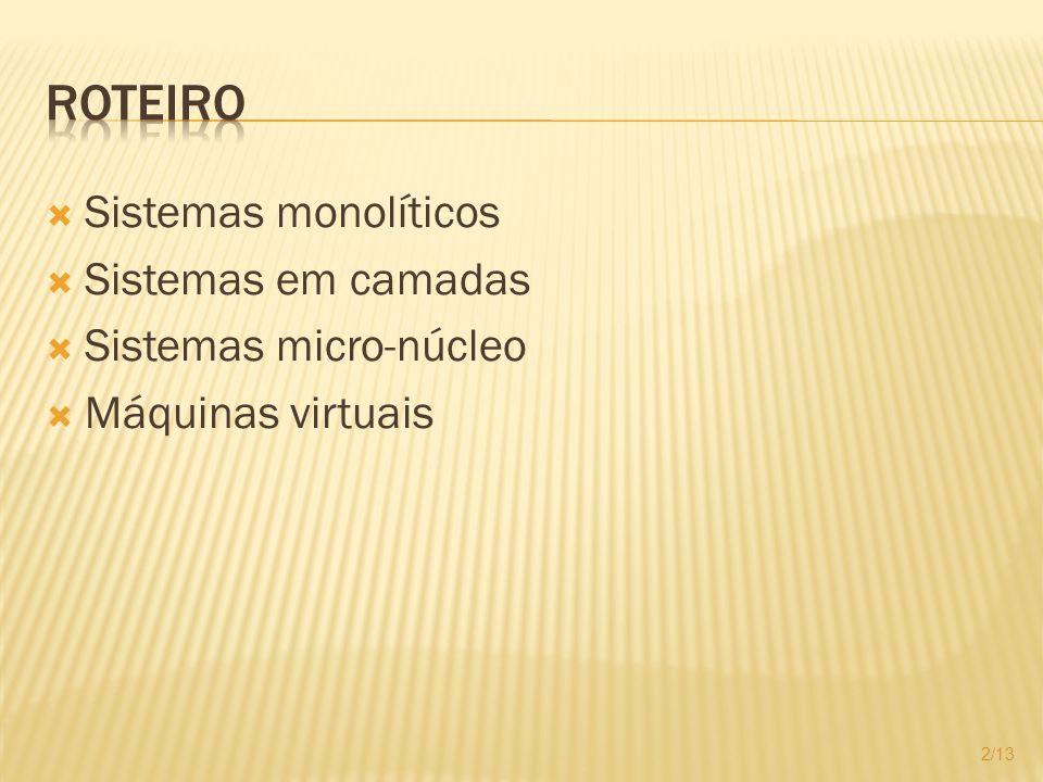 Sistemas monolíticos Sistemas em camadas Sistemas micro-núcleo Máquinas virtuais 2/13