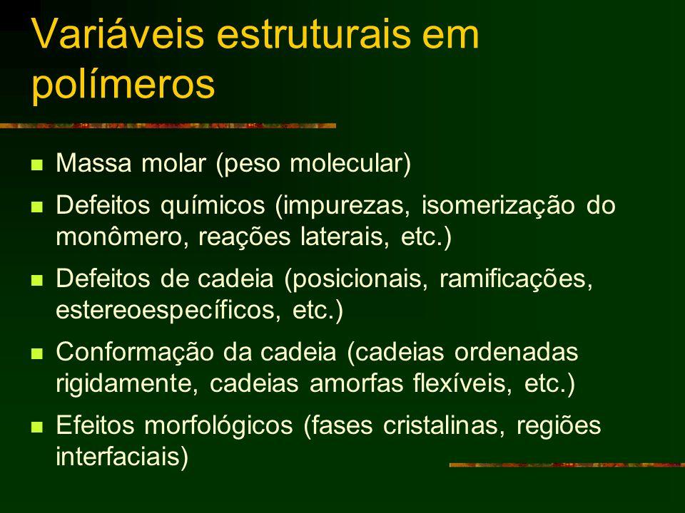 Variáveis estruturais em polímeros Massa molar (peso molecular) Defeitos químicos (impurezas, isomerização do monômero, reações laterais, etc.) Defeit