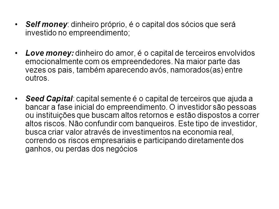 Self money: dinheiro próprio, é o capital dos sócios que será investido no empreendimento; Love money: dinheiro do amor, é o capital de terceiros envo