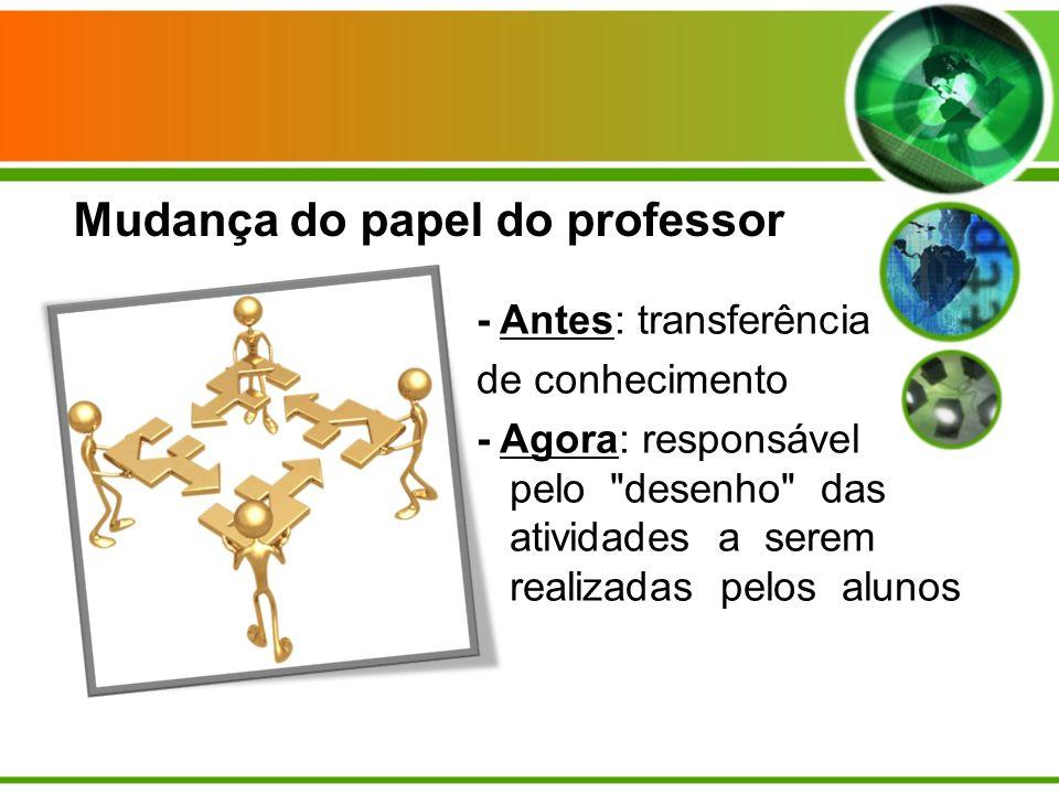 - Antes: transferência de conhecimento - Agora: responsável pelo desenho das atividades a serem realizadas pelos alunos Mudança do papel do professor