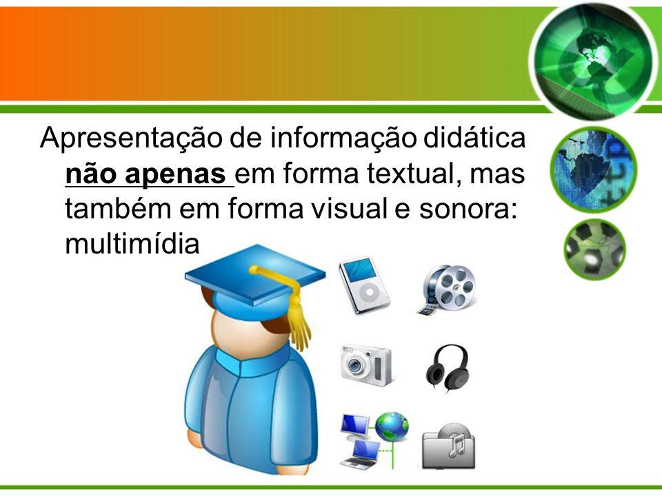 Apresentação de informação didática não apenas em forma textual, mas também em forma visual e sonora: multimídia