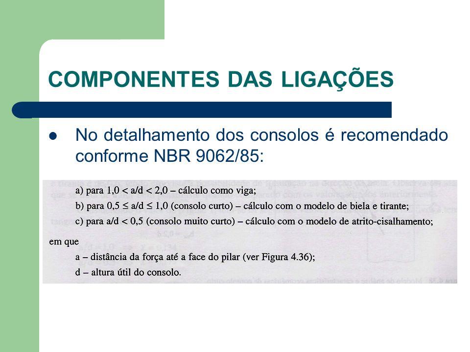 COMPONENTES DAS LIGAÇÕES No detalhamento dos consolos é recomendado conforme NBR 9062/85: