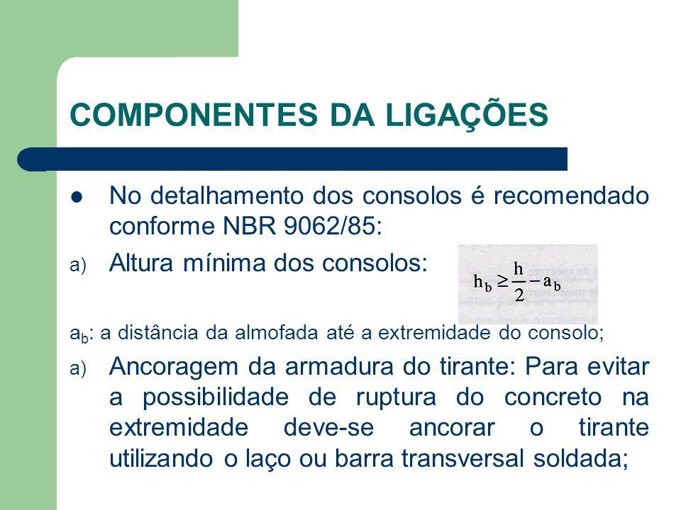 COMPONENTES DA LIGAÇÕES No detalhamento dos consolos é recomendado conforme NBR 9062/85: a) Altura mínima dos consolos: a b : a distância da almofada