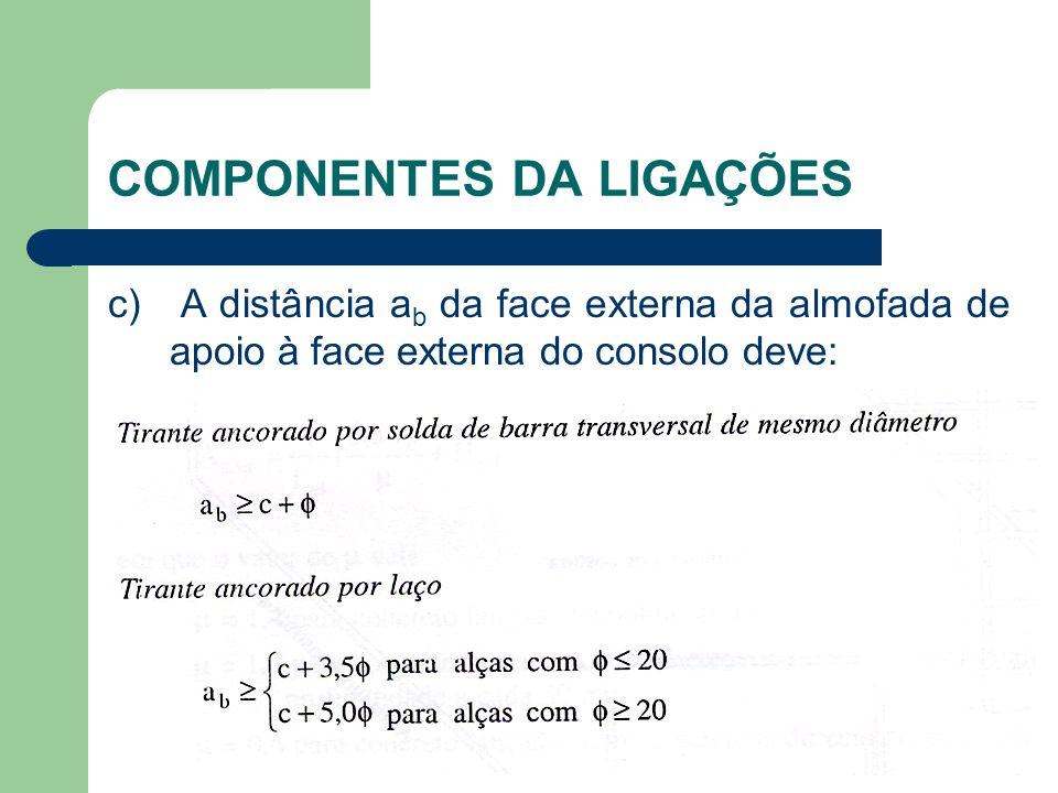c) A distância a b da face externa da almofada de apoio à face externa do consolo deve: