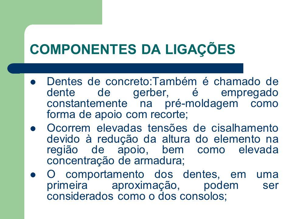 COMPONENTES DA LIGAÇÕES Dentes de concreto:Também é chamado de dente de gerber, é empregado constantemente na pré-moldagem como forma de apoio com rec