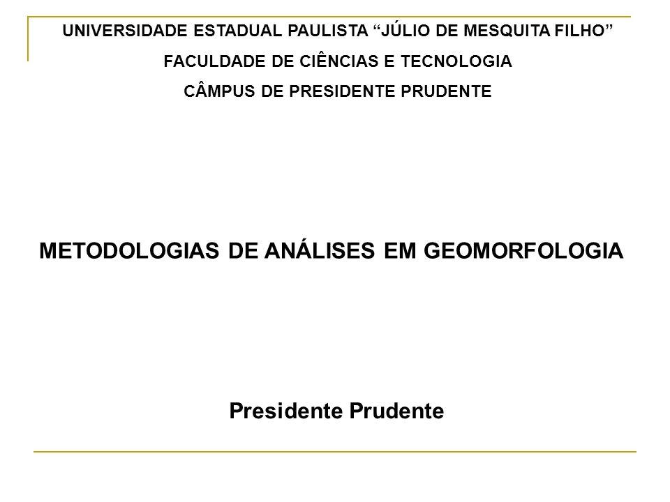 METODOLOGIAS DE ANÁLISE EM GEOMORFOLOGIA Fundamentos de Geomorfologia (Margarida Penteado) Métodos de trabalho Abordagens teóricas: aplicação das teorias gerais.