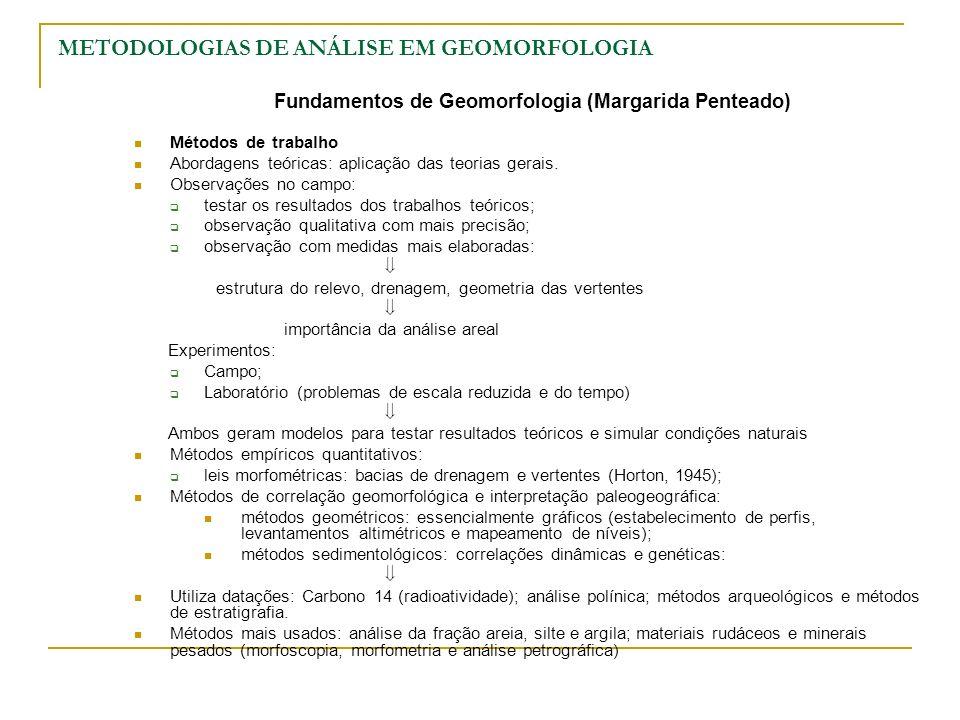 METODOLOGIAS DE ANÁLISE EM GEOMORFOLOGIA Fundamentos de Geomorfologia (Margarida Penteado) Métodos de trabalho Abordagens teóricas: aplicação das teor